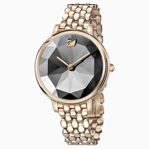 Crystal Lake Watch, Metal bracelet, Dark grey, Champagne-gold tone PVD