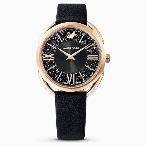 Crystalline Glam Watch, Leather strap, Black, Rose-gold tone PVD