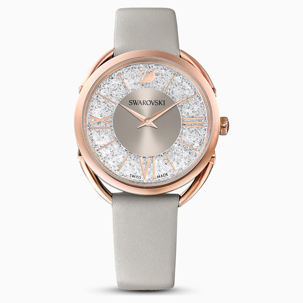 Crystalline Glam Watch, Leather strap, Grey, Rose-gold tone PVD