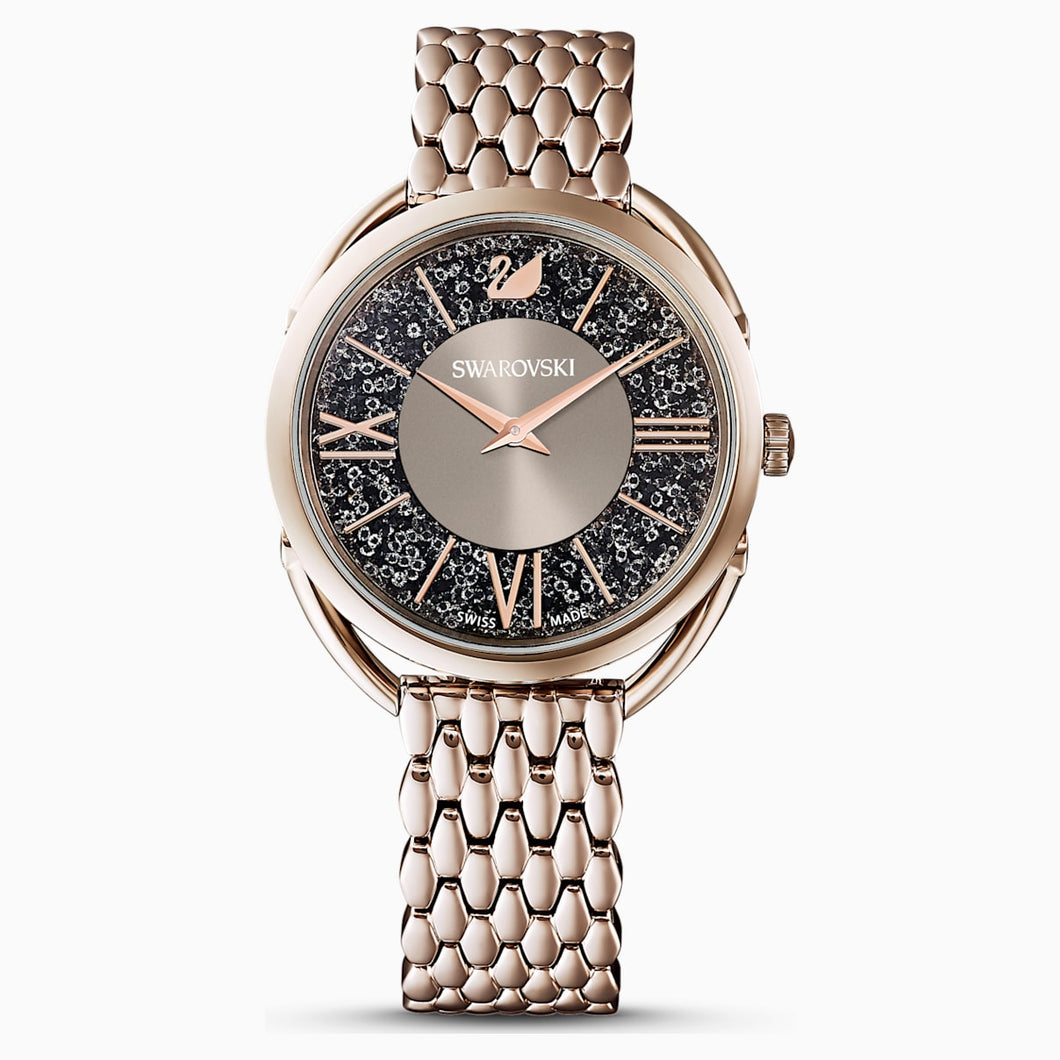 Crystalline Glam Watch, Metal bracelet, Grey, Champagne-gold tone PVD