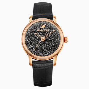 Crystalline Hours Watch, Leather strap, Black, Rose-gold tone PVD
