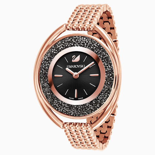 Crystalline Oval Watch, Metal bracelet, Black, Rose-gold tone PVD