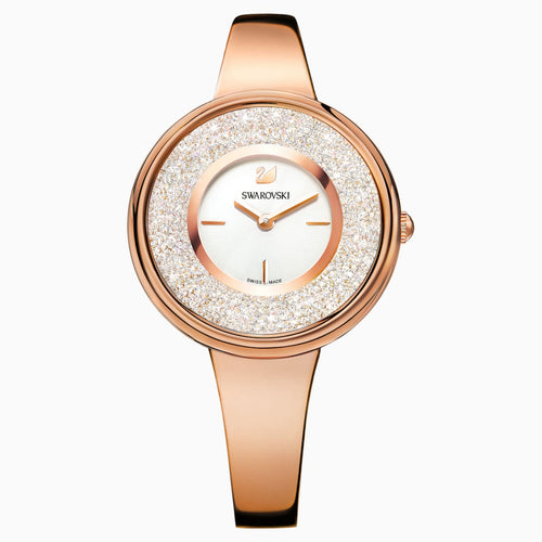 Crystalline Pure Watch, Metal bracelet, White, Rose-gold tone PVD