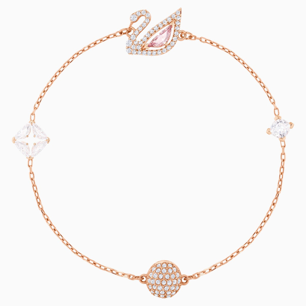 Dazzling Swan Bracelet, Multi-coloured, Rose-gold tone plated