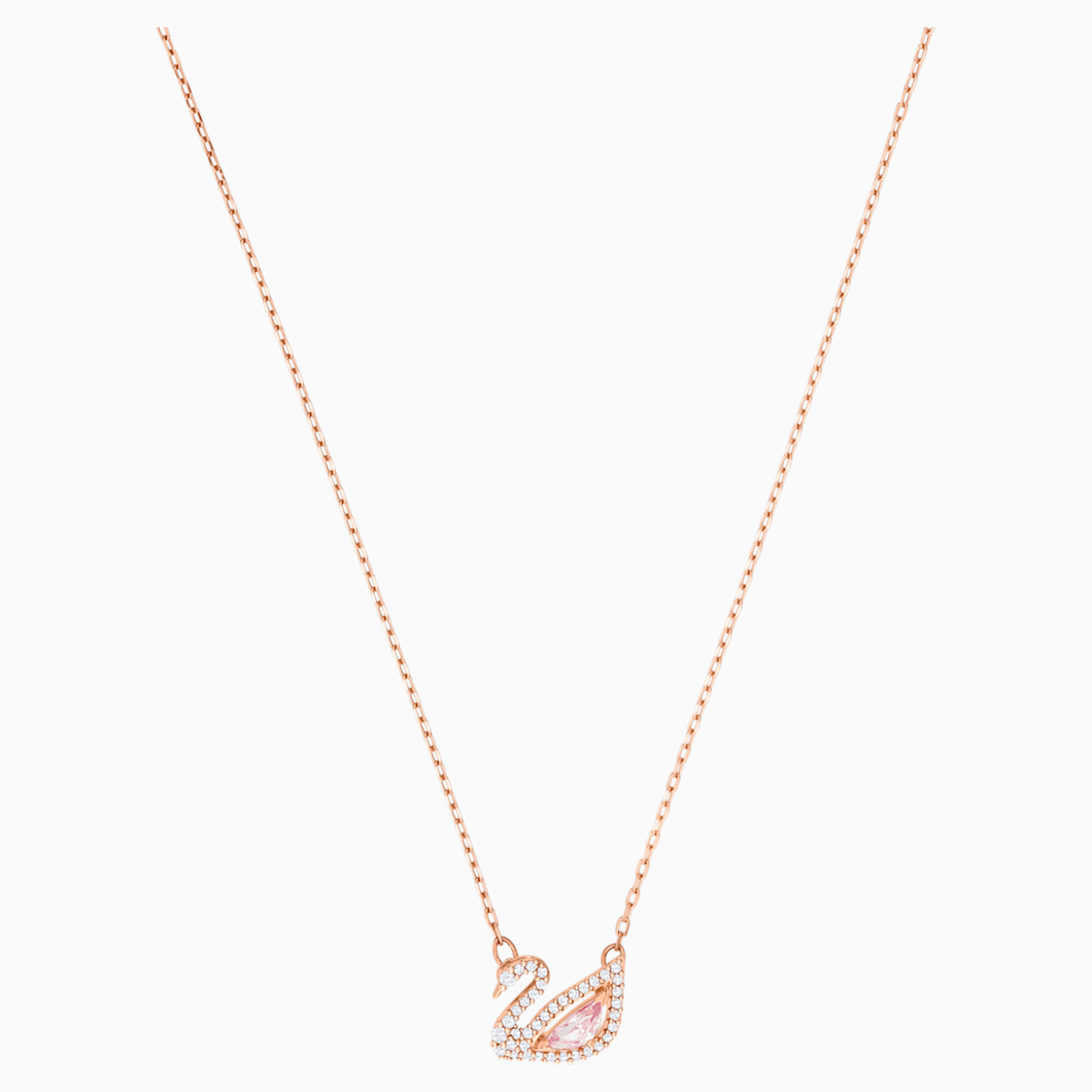 Dazzling Swan Necklace, Multi-coloured, Rose-gold tone plated