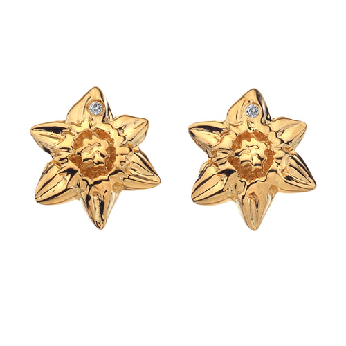 Diamonds for all Seasons Yellow Gold Plated Daffodil Earrings