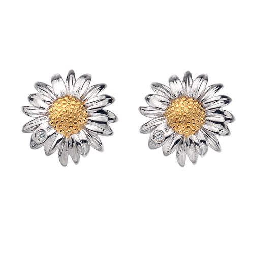 Diamonds for all Seasons Silver & 18ct Gold Daisy Earrings