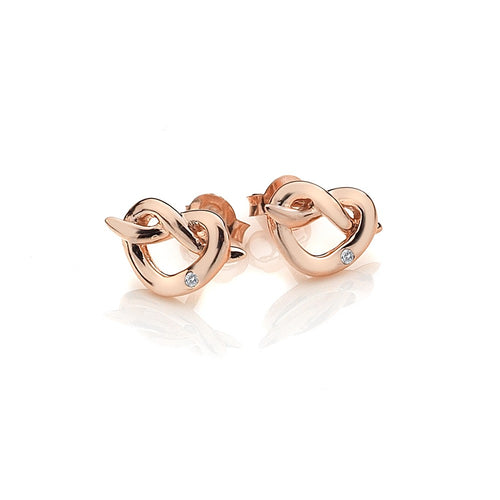 Infinity Heart Rose Gold Plate Earrings