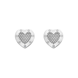 Lock in Love Silver Beaded Stud Earrings
