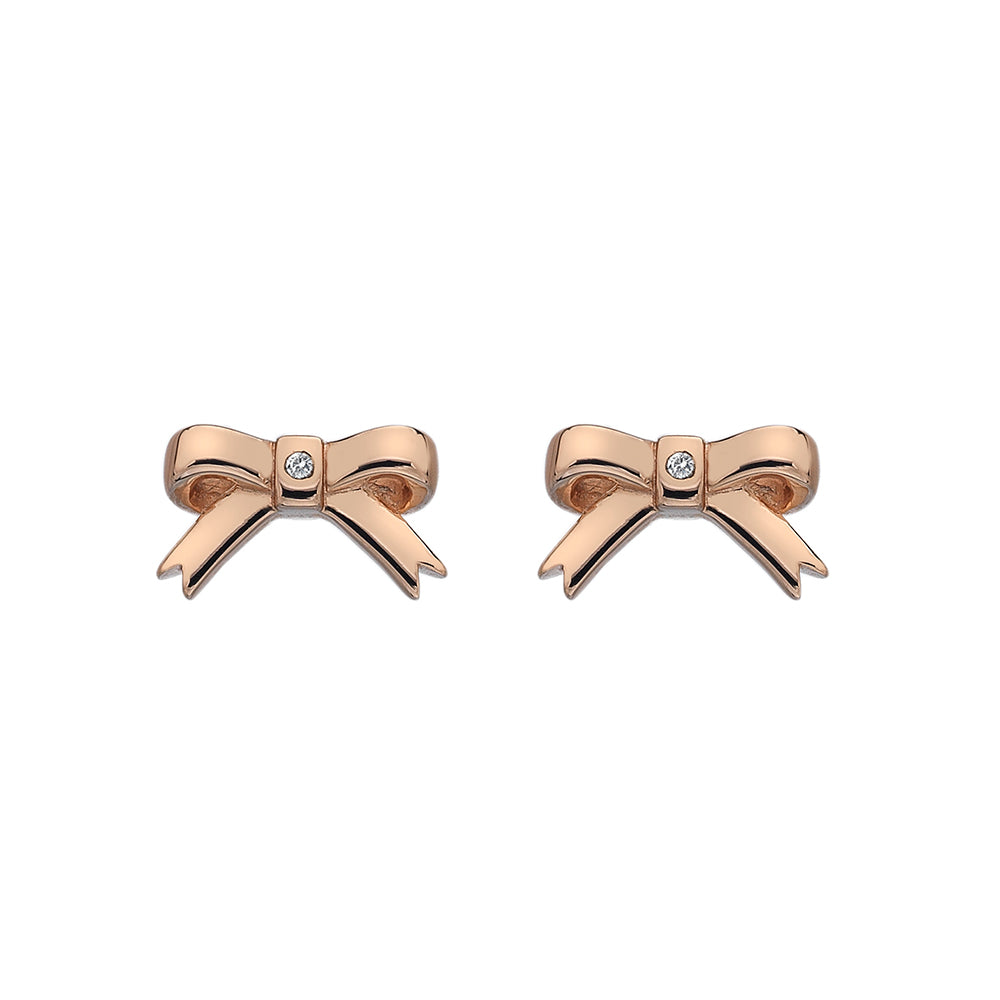 Ribbon Earrings Rose Gold Plate
