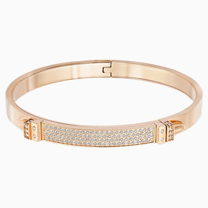 Distinct Bangle, White, Rose-gold tone plated
