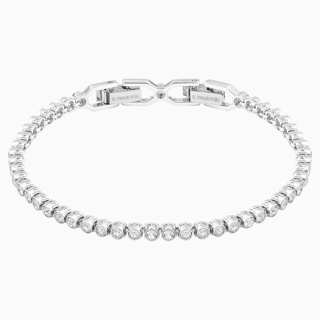 Emily Bracelet, White, Rhodium plated