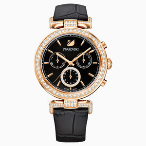 Era Journey Watch, Leather strap, Black, Rose-gold tone PVD