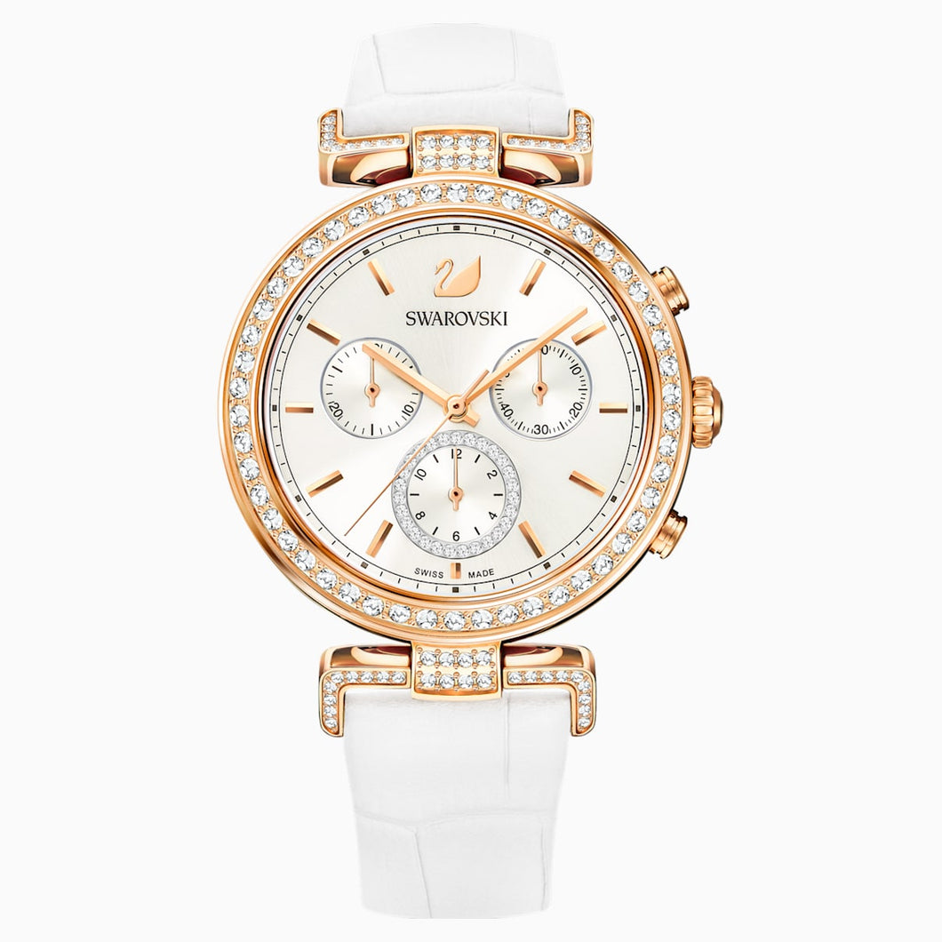 Era Journey Watch, Leather strap, White, Rose-gold tone PVD