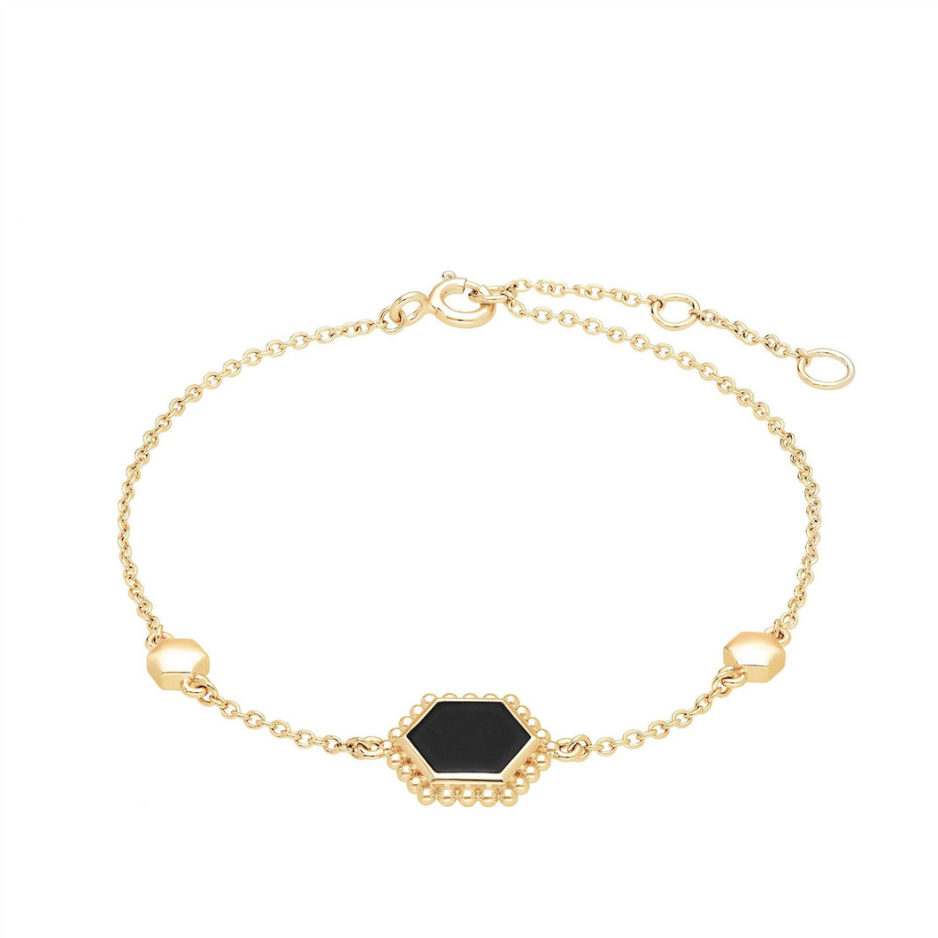 Black Onyx Flat Slice Bracelet in Gold Plated Sterling Silver