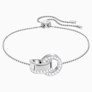 Hollow Bracelet, White, Rhodium plating