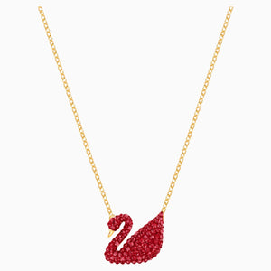 Iconic Swan Pendant, Red, Gold-tone plated