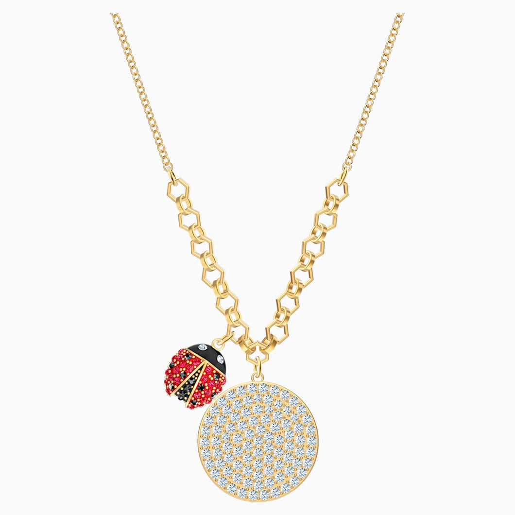 Lisabel Coin Necklace, Red, Gold-tone plated
