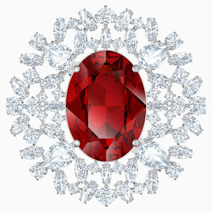 Louison Brooch, Red, Rhodium plated