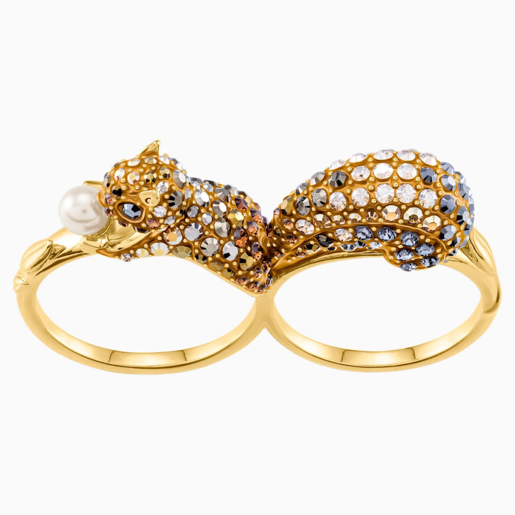 March Squirrel Double Motif Ring, Multi-coloured, Gold-tone plated