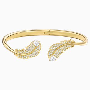 Nice Bangle, White, Gold-tone plated