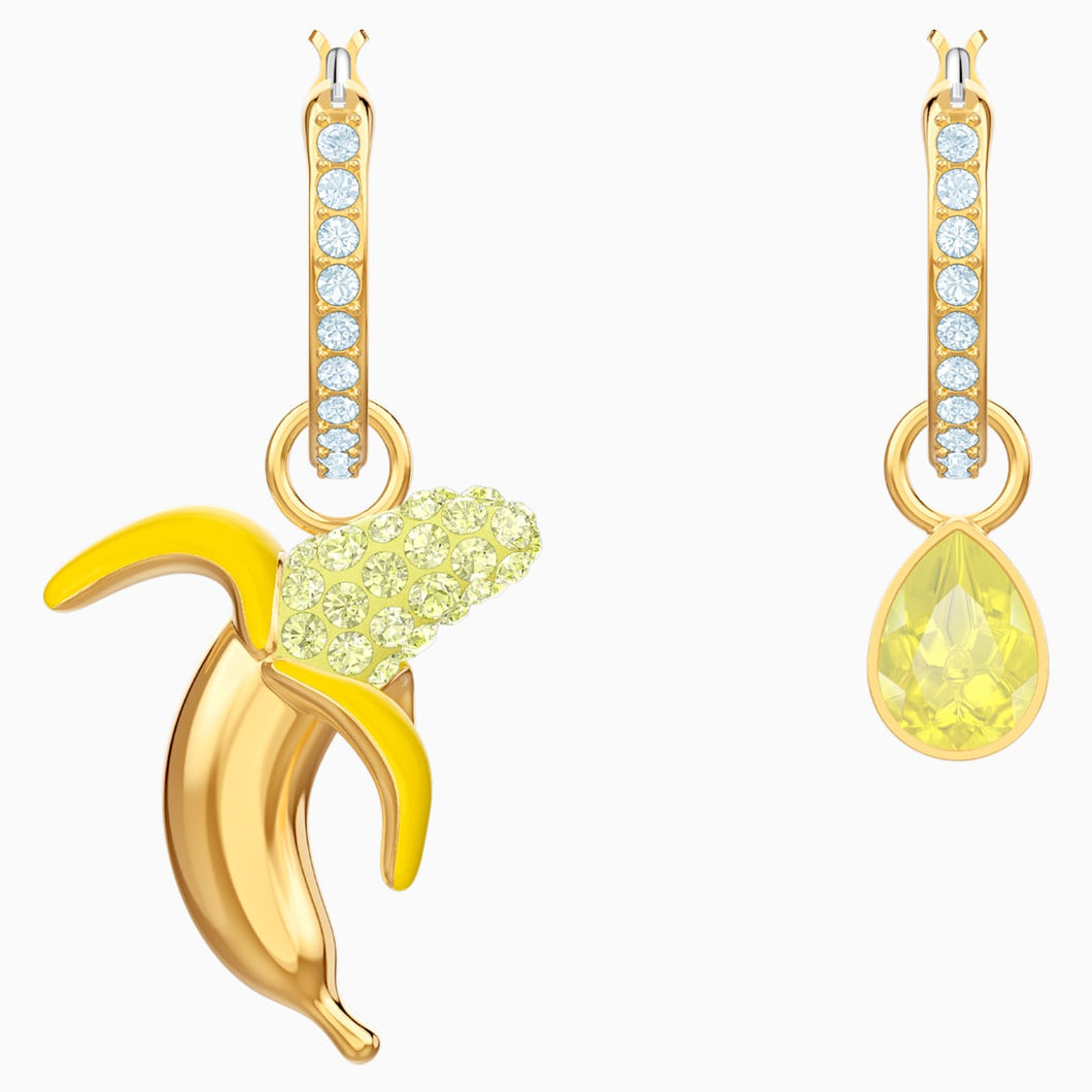 No Regrets Banana Pierced Earrings, Multi-coloured, Gold-tone plated