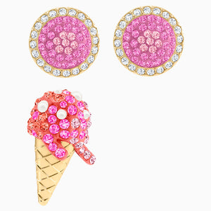No Regrets Ice Cream Pierced Earrings, Multi-coloured, Gold-tone plated