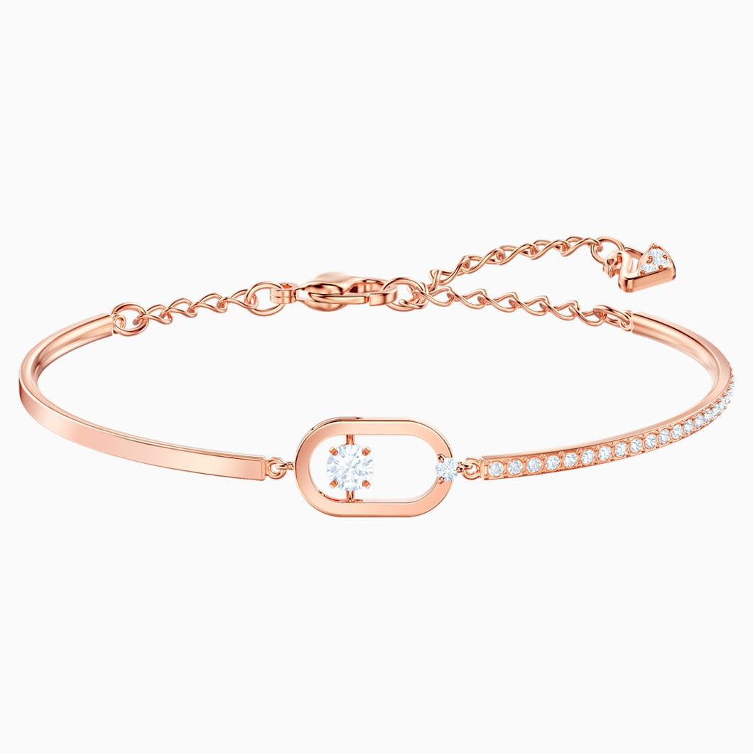 North Bracelet, White, Rose-gold tone plated