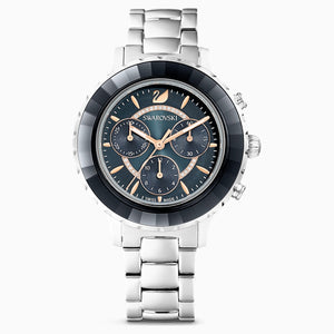 Octea Lux Chrono Watch, Metal bracelet, Black, Stainless steel