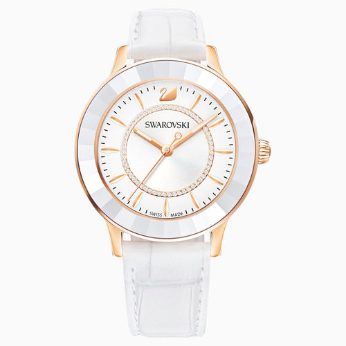 Octea Lux Watch, Leather strap, White, Rose-gold tone PVD