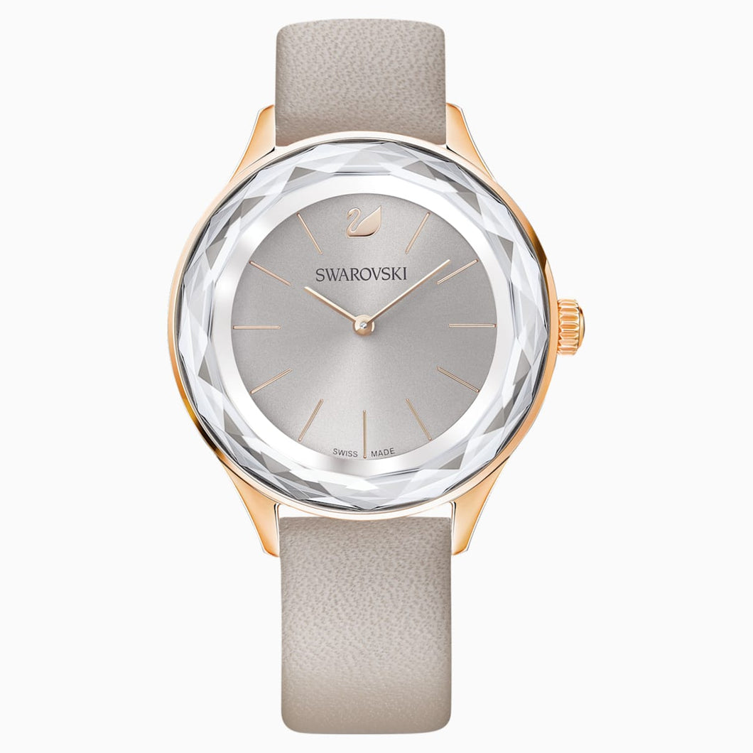 Octea Nova Watch, Leather strap, Grey, Rose-gold tone PVD