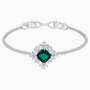 Palace Bracelet, Green, Rhodium plated