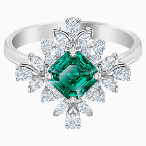 Palace Motif Ring, Green, Rhodium plated