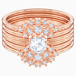 Penélope Cruz Moonsun Stacking Ring, White, Rose-gold tone plated