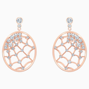 Precisely Drop Pierced Earrings, White, Rose-gold tone plated