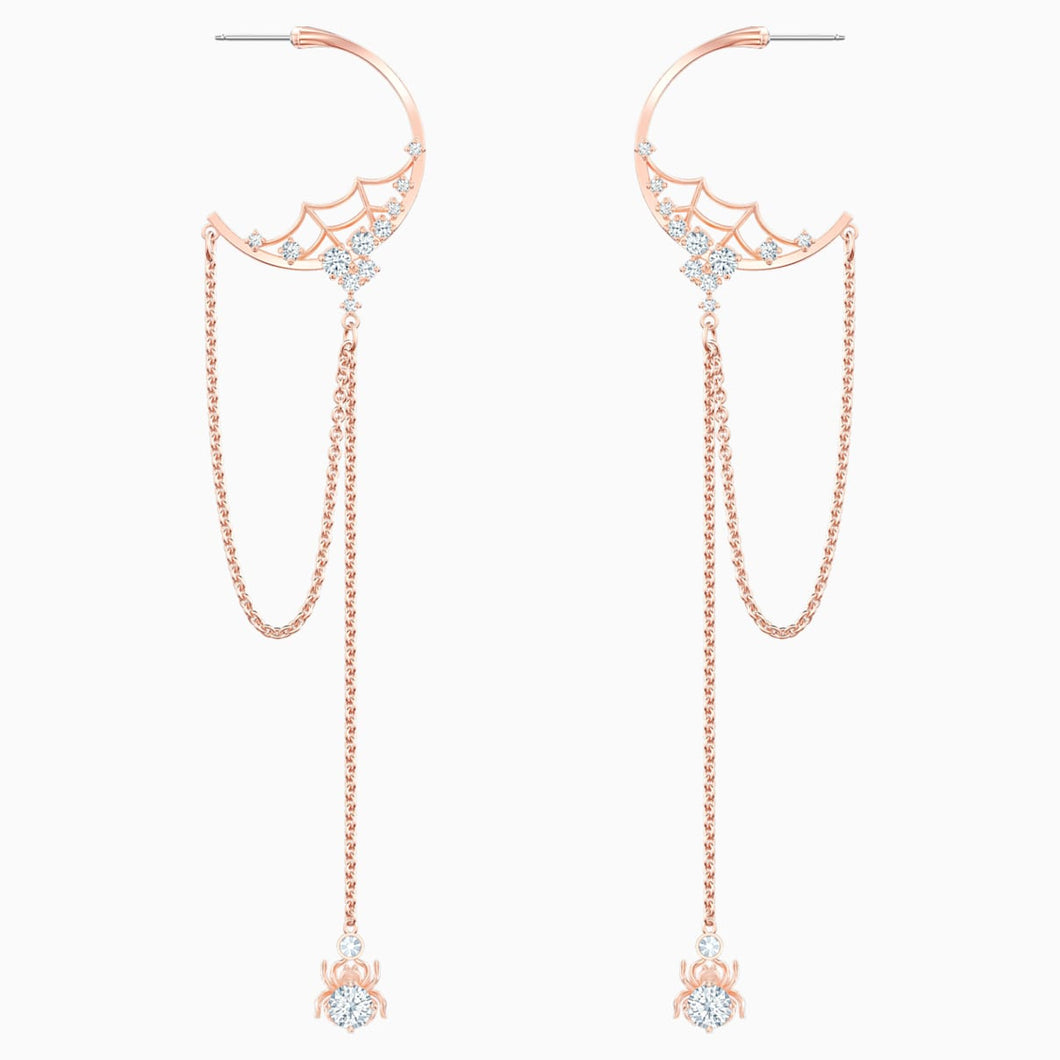 Precisely Hoop Pierced Earrings, White, Rose-gold tone plated