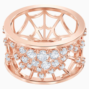 Precisely Motif Ring, White, Rose-gold tone plated