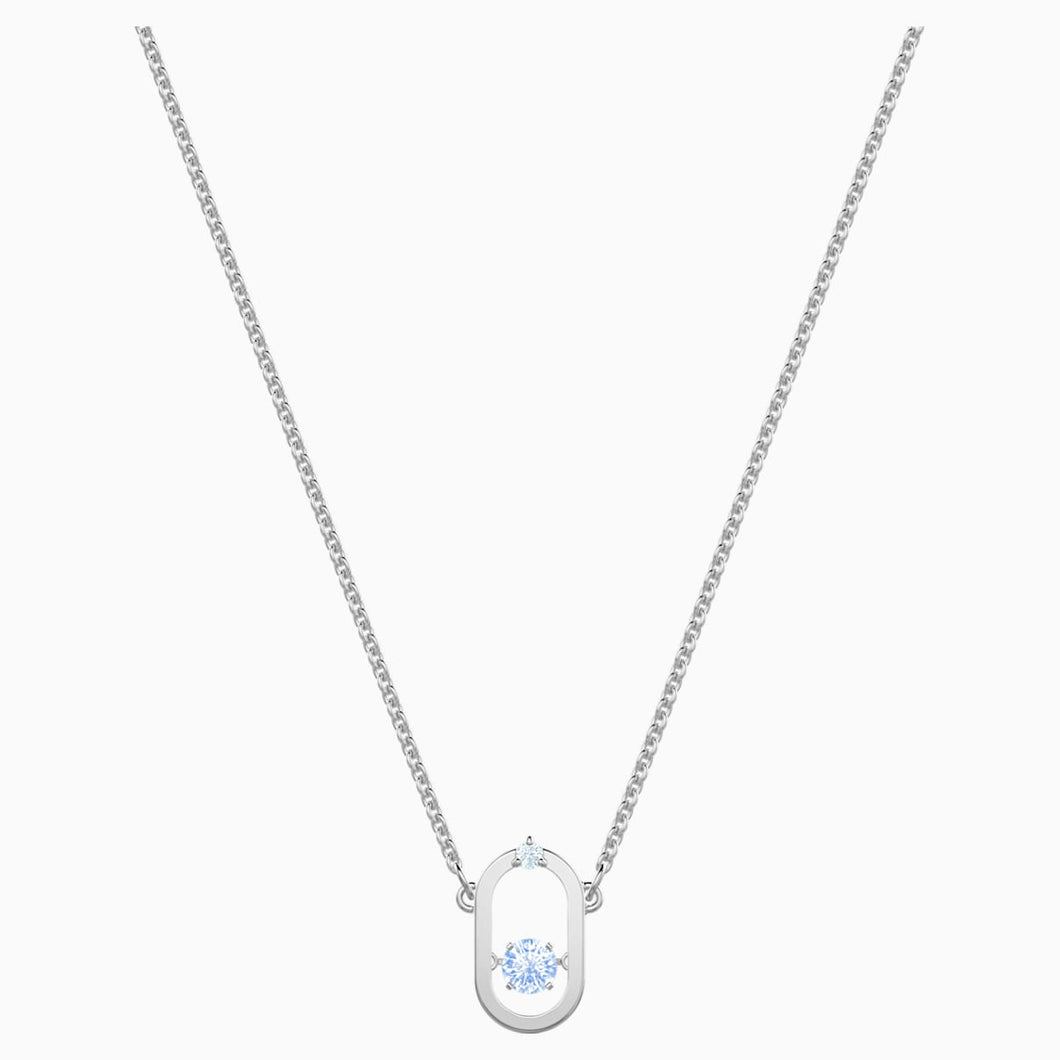 Sparkling Dance Necklace, Blue, Rhodium plated
