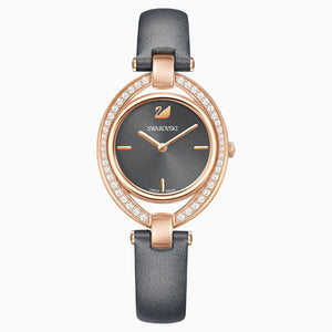Stella Watch, Leather strap, Dark grey, Rose-gold tone PVD
