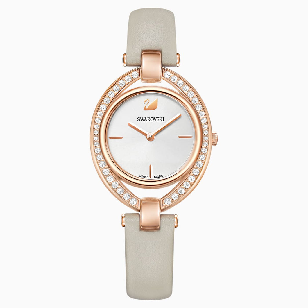 Stella Watch, Leather strap, Grey, Rose-gold tone PVD