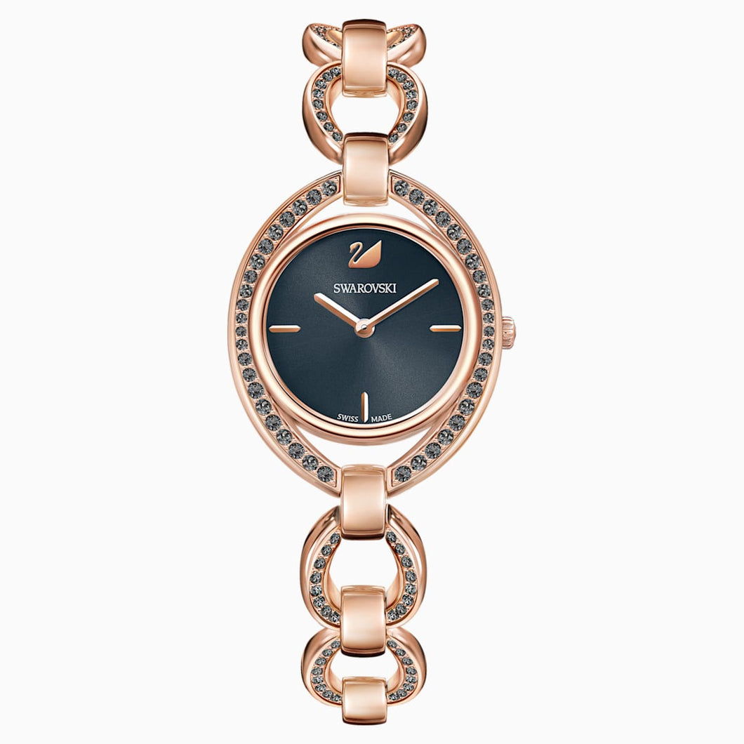 Stella Watch, Metal bracelet, Dark grey, Rose-gold tone PVD