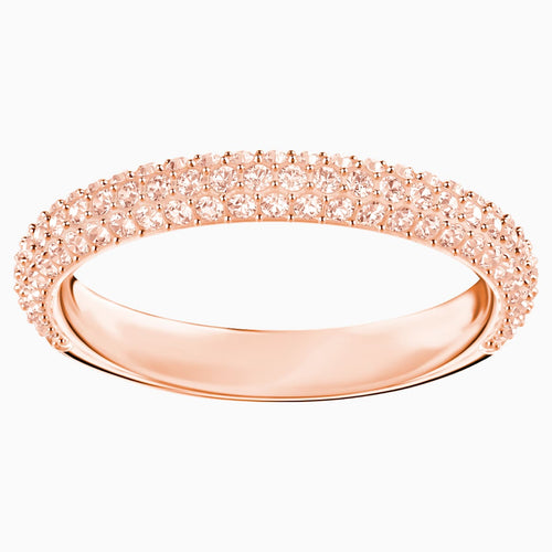 Stone Ring, Pink, Rose-gold tone plated