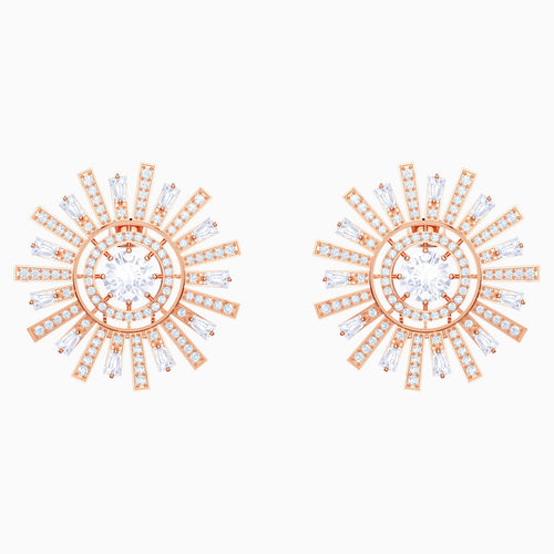 Sunshine Clip Earrings, White, Rose-gold tone plated