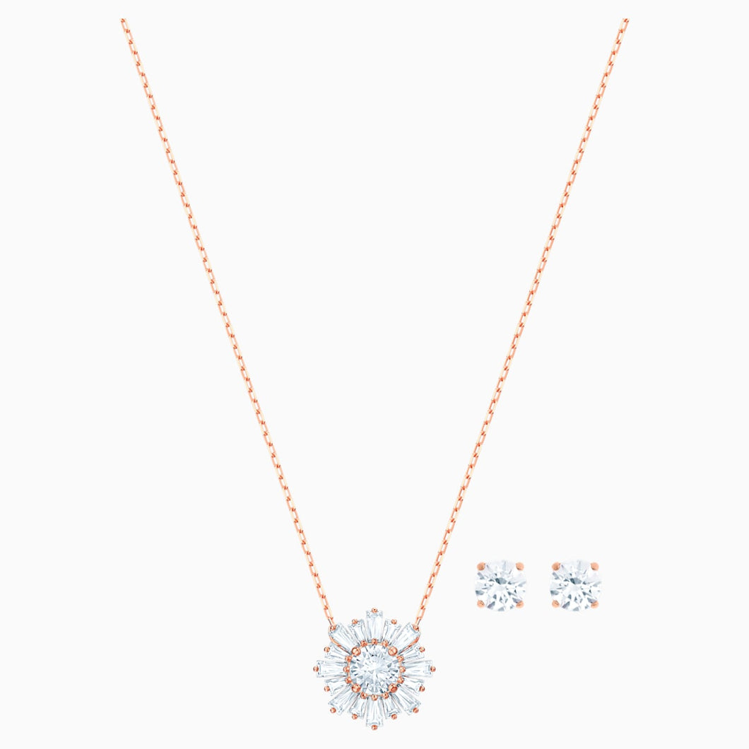 Sunshine Set, White, Rose-gold tone plated