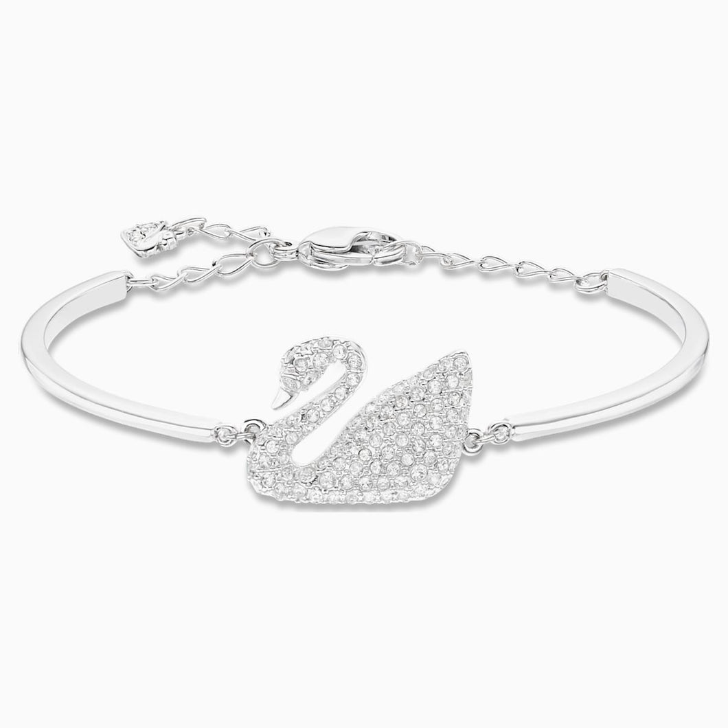 Swan Bangle, White, Rhodium plated