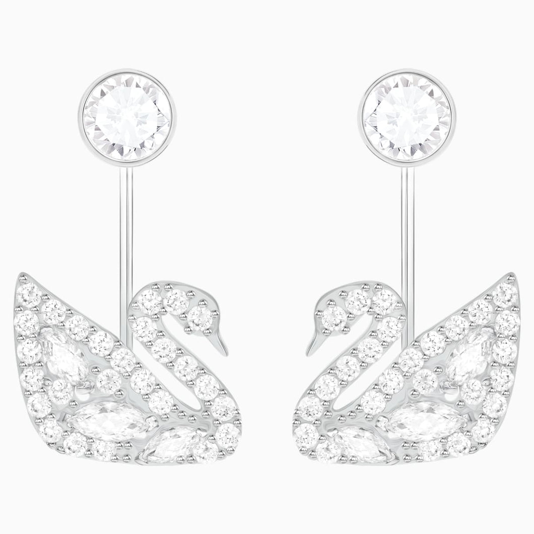 Swan Lake Pierced Earring Jackets, White, Rhodium plated