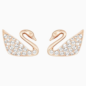 Swan Pierced Earrings, White, Rose-gold tone plated