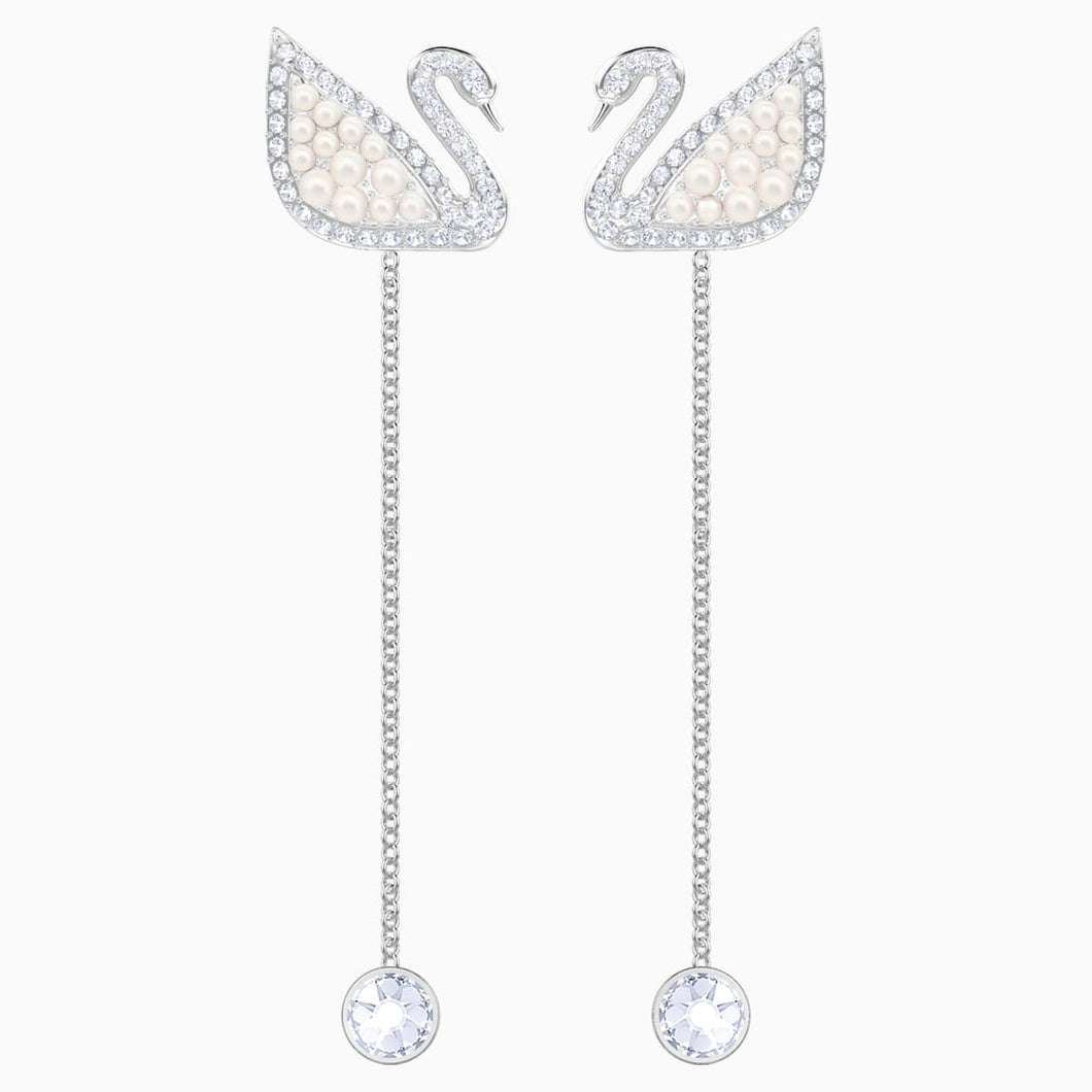 Swarovski Iconic Swan Pierced Earrings, White, Rhodium plated