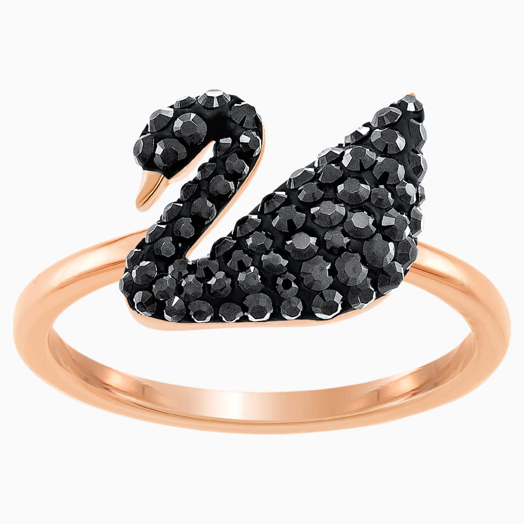 Swarovski Iconic Swan Ring, Black, Rose-gold tone plated
