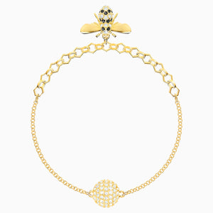 Swarovski Remix Collection Bee Strand, Black, Gold-tone plated
